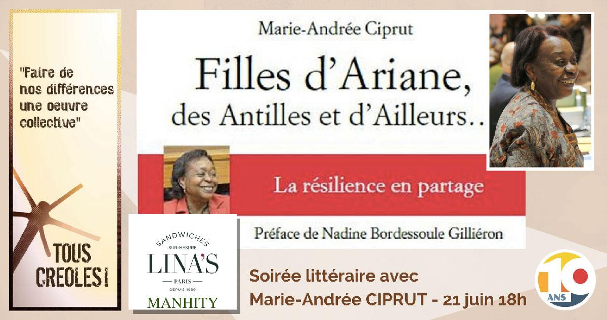 Soirée littéraire Tous Créoles avec Marie-Andrée CIPRUT
